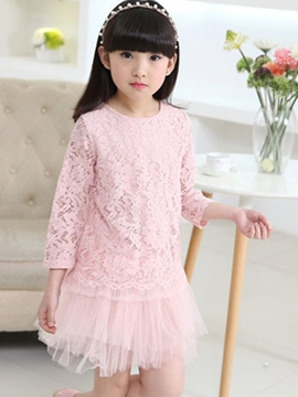 Ericdress Plain Mesh Lace Patchwork Girls Dress
