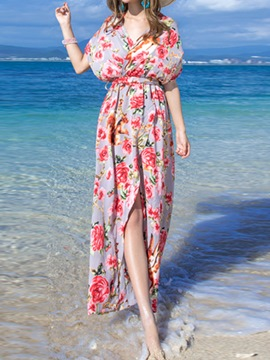 Ericdress Boho Floral Backness Maxi Dress