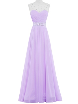 Ericdress Sheer Neck Beading Pleats Prom Dress