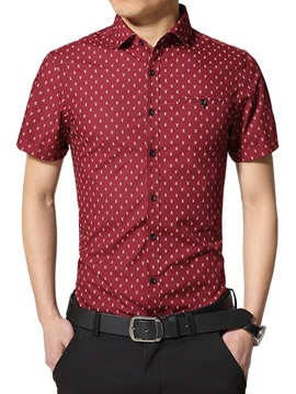 Ericdress Short Sleeve Slim Print Men's Shirt