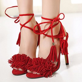 Ericdress European Suede Tassels Stiletto Sandals