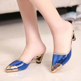 Ericdress Metal Patchwork Mules Shoes