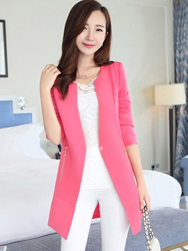 Ericdress Sweet Solid Color Mid-Length Blazer
