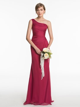 Ericdress Beautiful One Shoulder Sheath Long Bridesmaid Dress