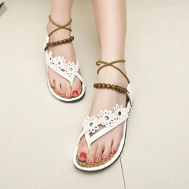 Ericdress Ethnic Beads Cross Strap Flat Sandals
