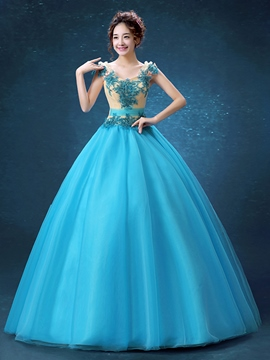 Ericdress Scoop Ballkleid Applikationen Friesen Quinceanera Kleid aus Spitze