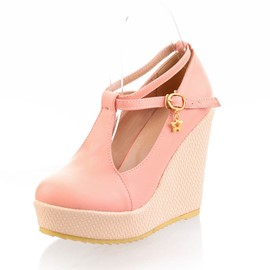 Ericdress Round Toe Platform Cross Strap Wedges