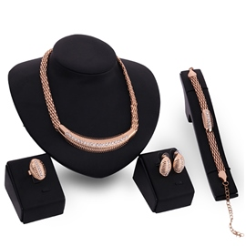 Shape of a Snake Golden Four-Piece Jewelry Set