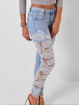 Ericdress Slim Lace Patchwork Jeans