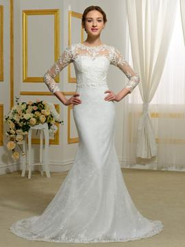Ericdress Charming Jewel Long Sleeves Lace Wedding Dress