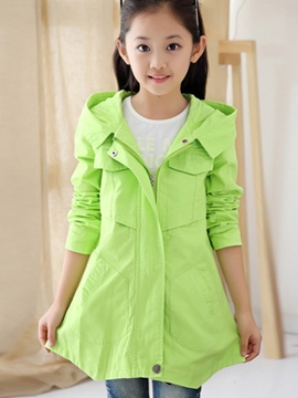 Ericdress Plain Hooded Girls Trench Coat