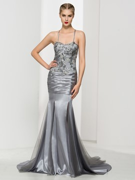 Ericdress Spaghetti Straps Sequins Pleats Mermaid Evening Dress