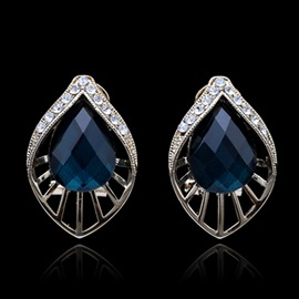 Ericdress Hollow Water Drop Crystal Earrings