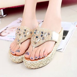 Ericdress Graceful Lace Rhinestone Slippers
