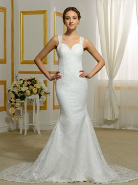 Ericdress Fancy Straps Backless Lace Wedding Dress