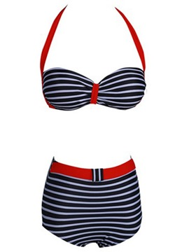 Ericdress High Waist Stripe Halt Bikini