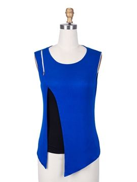 Ericdress Solid Color Zipper Asymmetric T-Shirt