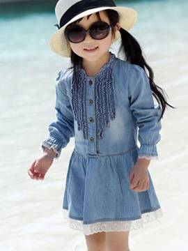 Ericdress Denim Long Sleeve Girls Dress