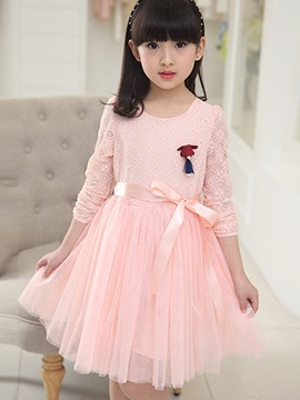 Ericdress Lace Mesh Patchwork Girls Dress