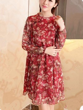 Ericdress Floral Print A-Line Chiffon Casual Dress
