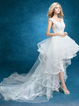 Ericdress Charming V Neck Appliques High Low Beach Wedding Dress