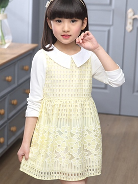Ericdress Hollow Long Sleeve Girls Dress