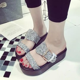 Ericdress Open Toe Flat Heel Buckle Slippers