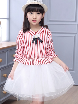 Ericdress Mesh Stripe Patchwork Girls Dress
