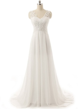 Ericdress High Quality V Neck Appliques Empire Wedding Dress