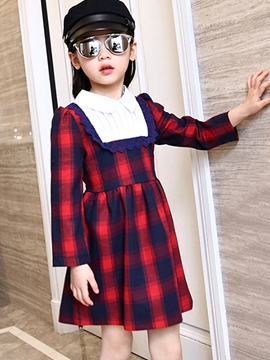Ericdress Preppy Plaid Girls Dress