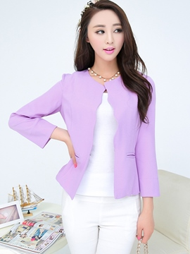 Ericdress Solid Color Wave Cut Blazer