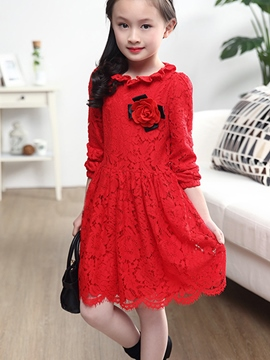 Ericdress Plain Lace Long Sleeve Girls Dress