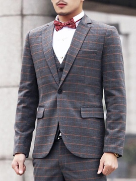 Ericdress Plaid Three-Piece of Gentlemen Suit