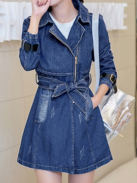 Ericdress Lace-Up Denim Trench Coat