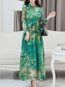 Ericdress Print Lace-Up Expansion Maxi Dress