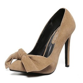 Ericdress Graceful Suede Point Toe Pumps with Bowtie