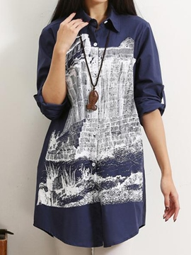 Ericdress Loose Casual Printed Blouse