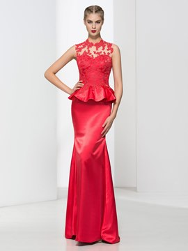 Ericdress Sheath Appliques Ruffles Backless Evening Dress
