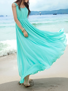 Ericdress Solid Color Expansion Maxi Dress