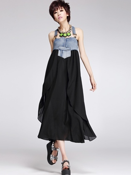 Ericdress Denim Chiffon Patchwork Asymmetric Maxi Dress