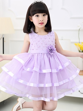 Ericdress Plain Ball Gown Girls Dress