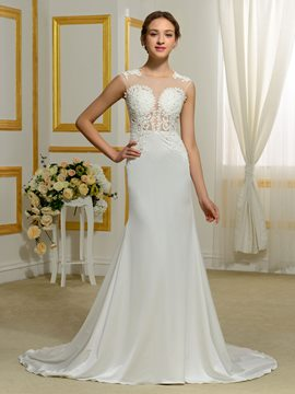 Ericdress Sexy Sheer Neck Mermaid Wedding Dress