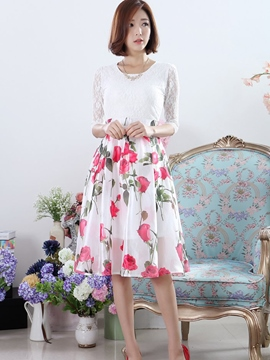Ericdress Flower Print Lace Patchwork Casual Dress