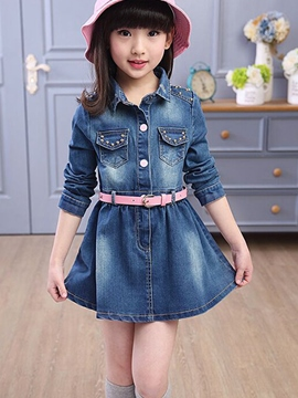 Ericdress Single-Breasted Denim Girls Dress