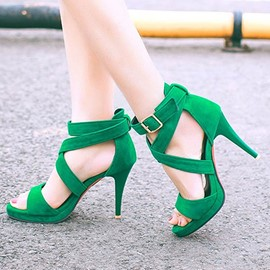 Ericdress Bright Solid Color Suede Stiletto Sandals