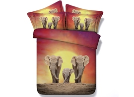 Ericdress Harmony Elephant Family Digital Print Bedding Sets