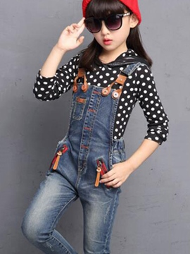 Ericdress Denim Suspender Pants Girls Outfit