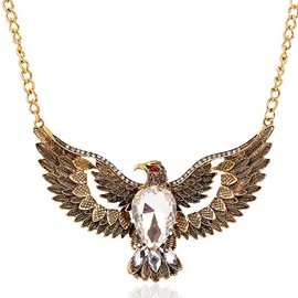 Ericdress Vintage Eagle Gemstone Necklace