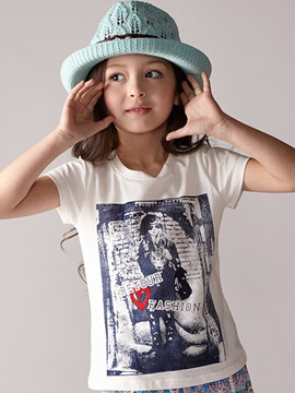 Ericdress Cartoon Print Short Sleeve Girls T-Shirt