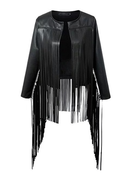 Ericdress Tassel PU Jacket